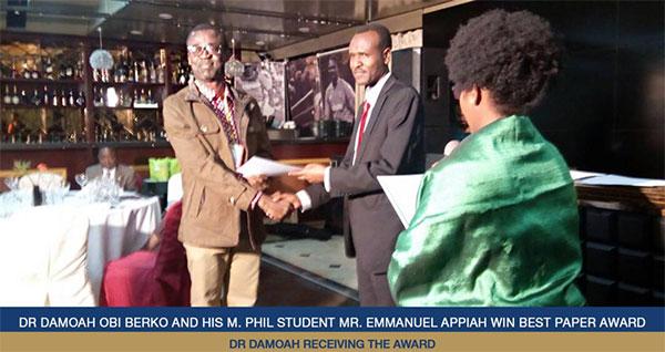 Dr  Damoah Obi Berko and Mr  Emmanuel Appiah Win Best Paper Award